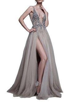 Fenghuavip Women's Deep V-Neck Prom Dresses Side Split Beading Tull Dress
