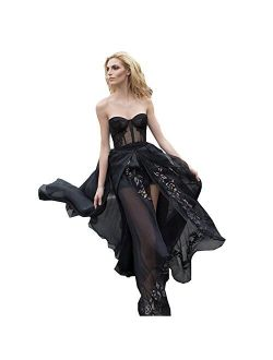 Kelaixiang Sweetheart Strapless Printed Flower Black Evening Gown Split