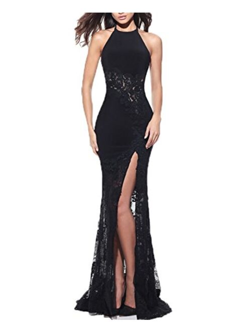 BONBETE Halter Neck Sexy Evening Dress Long Mermaid Lace Split Prom Dress Party Gown