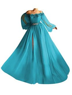 Tulle Puffy Ball Gowns Off Shoulder with Sleeves Beaded Princess Split Prom Dresses for Women Formal