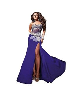 Sexy Side-Split Bridesmaid Evening Formal Party Ball Gown Prom Long Dress