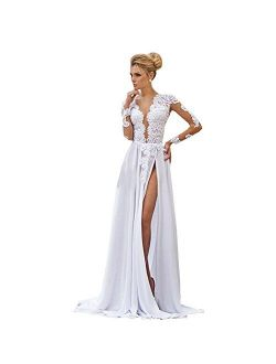 Kelaixiang Open Back Long Sleeves Lace Wedding Gowns Split for Women