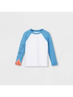 Ys' Shark Face Long Sleeve Raglan Rash Guard Swim Shirt - Cat & Jack™ Blue