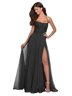 Women's Chiffon Lace Halter Backless Wrap Slit Prom Dress Long Formal Evening Gown