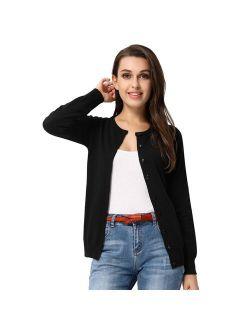 Classic Women's Button Down Crew Neck Sweater Knit Cardigan Long Sleeve (S~2XL)