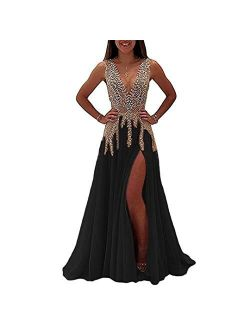 QueenBridal Womens Illusion Prom Dress With Slit Fancy Deep Evening Gown Qb979