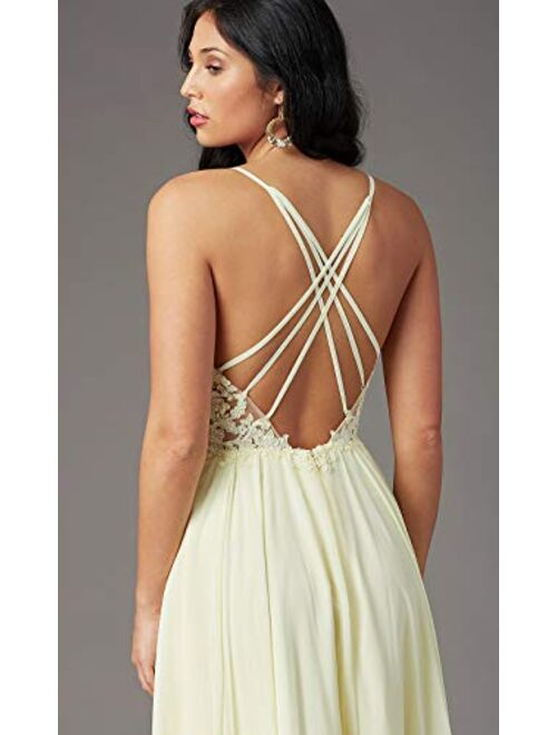 Spaghetti Straps V Neck Lace Bodice Bridesmaid Dress with Slit Long Evening Gown