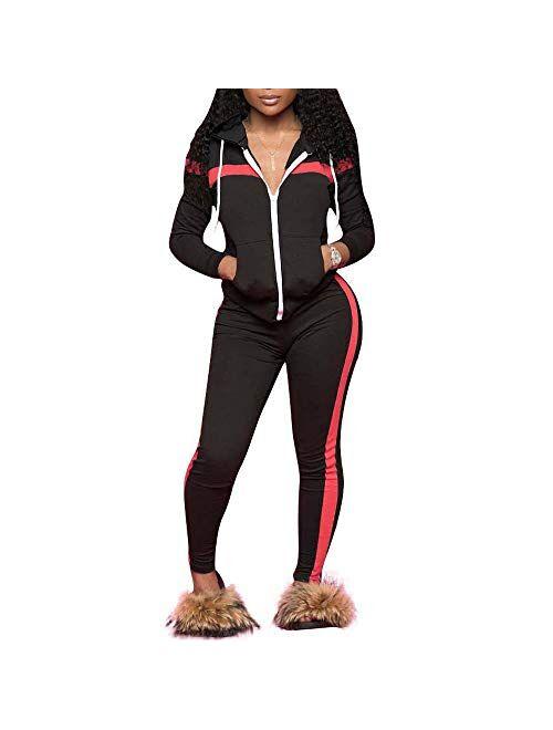 TrendyChic Women Sweatsuit Set,2 PCS Outfits Tracksuit Long Sleeve Zip Up Sweatshirt and Long Pants Jogging Suits