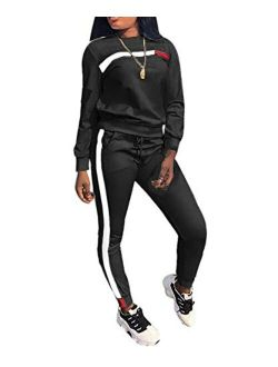 Apretty 2 Piece Outfits for Women Sweatsuit Crewneck Pullover and Long Sweatpants Tracksuit Jogging Suits