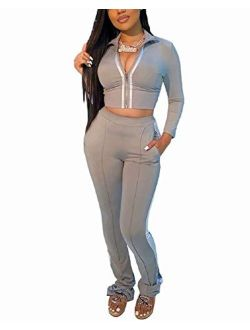 ThusFar Women's Tracksuit Two Piece Outfits Zip-Up Bodycon Crop Jacket Bootcut Pants Jogging Set Sportswear with Pockets