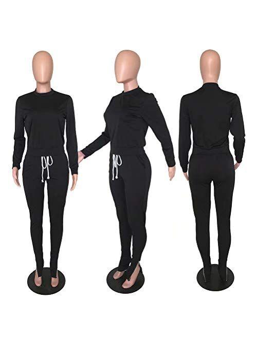 ThusFar Women's Two Piece Outfits Sweatsuit Tracksuit Crop Top Drawstring Zipper Slit Pants Set Jumpsuit with Pockets