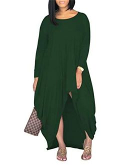 Women's Round Neck Short Sleeve High Low Pleated Loose Swing Casual Long Maxi T Shirt Dress