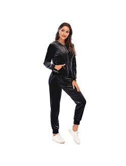 Sweat Suits for Women Set Casual Stripe Zipper Swearshirt Long Workout Pants Tracksuit Jogging Suits