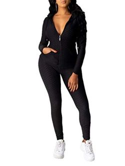 Ophestin Women Textured Hoodie 2 Piece Solid Sports Jumpsuits Outfits Zip-up Sweatshirts Jacket Pants Joggers Tracksuits Set