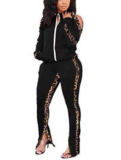Jogging Suits for Women - Sweat Suits Set Zipper Hoodies Sweatshirt + Wide Leg Slit Pants Tracksuit Set