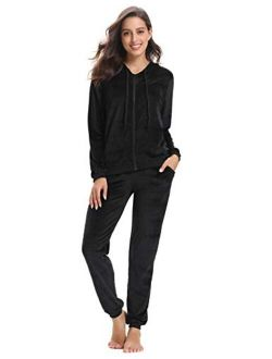 Abollria Women's Long Sleeve Solid Velour Sweatsuit Set Hoodie and Pants Sport Suits Tracksuits