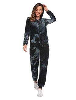 Sweatsuits Set Womens 2 Piece Sweatshirt & Sweatpants Velour Full Zip Hoodie Tracksuits Sportswear With Pocket