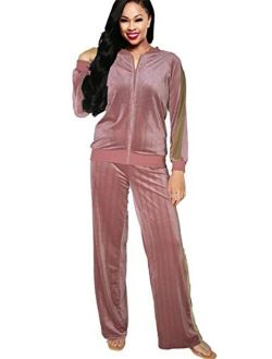 Two Pice Outfits for Women Sweatsuits - Velvet Tracksuit Set Zip Jackets Tops and Sweatpants Jogging Suit