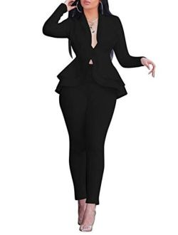 Salimdy Sexy 2 Piece Outfits for Women Long Sleeve Solid Blazer with Pants Casual Elegant Business Suit Sets