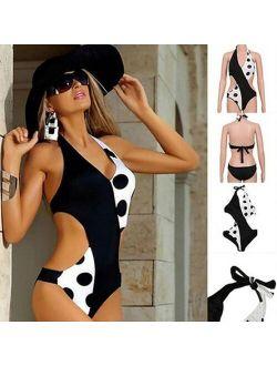 Swimwear Women Fashion Polka Dot Swimwear Summer Monokini Sexy One-piece Bikini