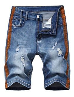 Lavnis Men's Ripped Jean Shorts Casual Distressed Denim Shorts Summer Short Pants with Pockets