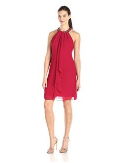 S.L. Fashions Jewel Neck Sleeveless Sheath Dress