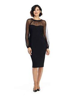 Maggy London Illusion Yoke Sheath Long Sleeve V-Neck Back dress