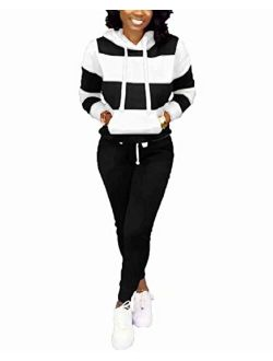 ThusFar Women's Casual Two Piece Outfits Stripes Sweatsuit Tracksuit Kangaroo Pocket Hoodies Sweatshirt Drawstring Pants