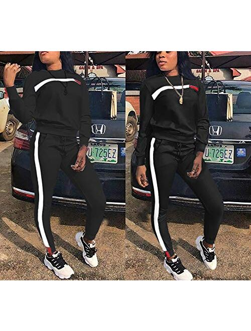 Two Piece Outfits for Women - Stripe Patchwork Long Sleeve Sweatshirt and Skinny Jogging Pants Tracksuit Sets