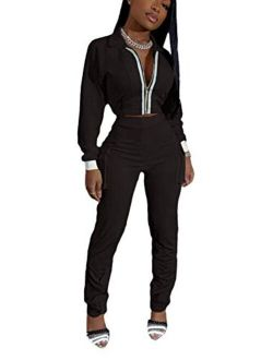 2 Piece Casual Solid Color Outfits Set for Womens, Long Sleeve Zipper Jacket Bodycon Pants Clubwear Tracksuit Sportswear