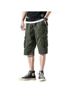 Guanzizai Men's Big and Tall Cargo Shorts Multi Pockets Relaxed Fit Outdoor Shorts