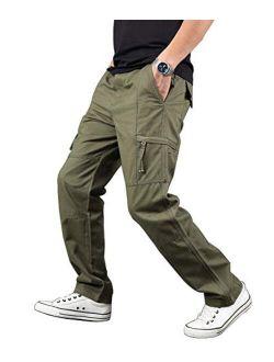 Banana Bucket Men's Full Elastic Waist Normal Fit Lightweight Workwear Big Pocket Pull On Cargo Pants