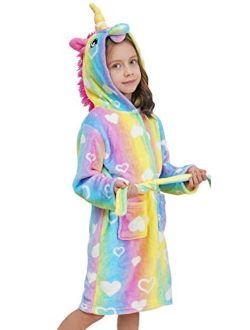 Doctor Unicorn Soft Unicorn Hooded Bathrobe with Hearts - Unicorn Gifts for Girls