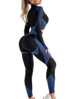 FAMITION Women's 2 PCS Yoga Sports Suit Long Sleeve Front Zip Top High Waist Seamless Yoga Leggings