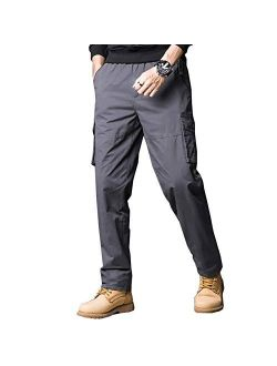 Banana Bucket Mens Tactical Cargo Pants, Elastic Waistband Casual Jogger Pants with Multi-Pockets