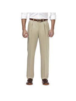 Haggar Men's Premium No Iron Khaki Pleated Front Work Pant Classic Fit HC10897