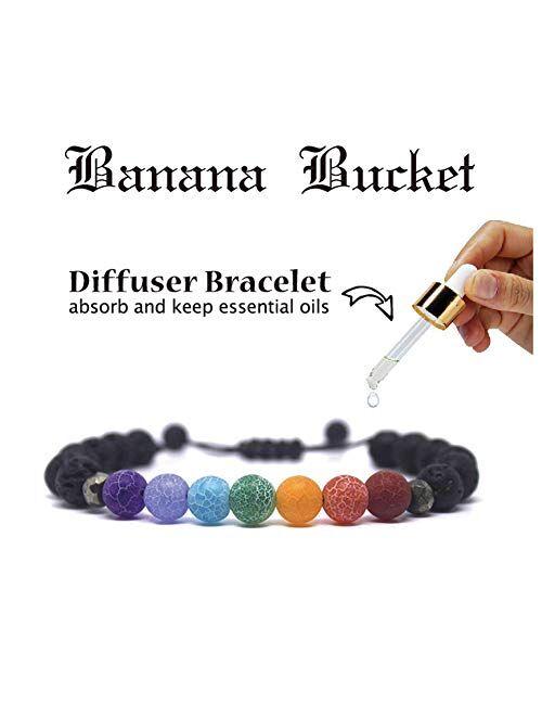 Banana Bucket Adjustable Calm Lava Stone Diffuser Bracelet - Meditation, grounding, Healing, Genuine Stones, Natural, Essential Oils, self Confidence, Holistic, Aromather