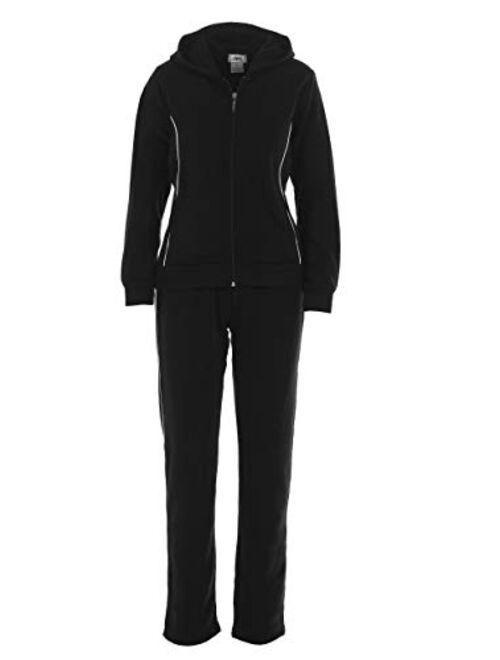 unik Women Fleece Sweatsuit Set Jacket Matching Pants Black Burgundy Grey Fuchsia Teal Navy Red