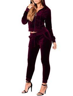 Pink Queen Women Velvet Long Sleeve Full-Zip Jacket Jogging Pants Suit Tracksuit