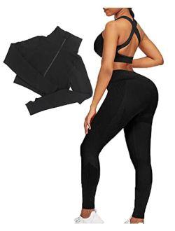 JOYMODE Workout Sets for Women 2 Piece Seamless Textured High Waist Leggings and Crop Top Gym Sets