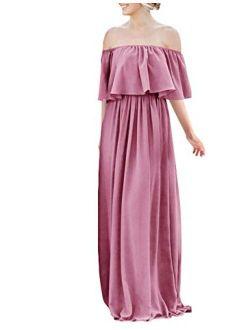 JAEDEN Bridesmaid Long Off Shoulder Layered Ruffle Bridesmaid Dress