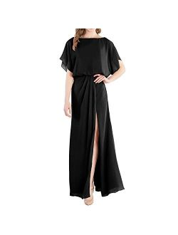MACloth Boat Neck Flutter Sleeves Long Wedding Party Bridesmaid Dress