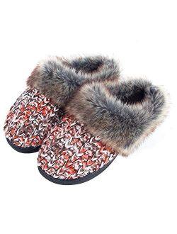 DL Womens House Slippers Memory Foam, Fluffy Slip on Womens Bedroom Slippers Fuzzy Collar, Warm Soft Indoor Knit Slippers for Women Non-Slip