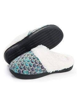 DL Knit Women's Memory Foam House Slippers Slip On,Comfy Warm Winter Fur Lined Slippers for Women Indoor, Soft Fluffy Cozy Woman Home Houseshoes Bedroom Slippers Non-Slip