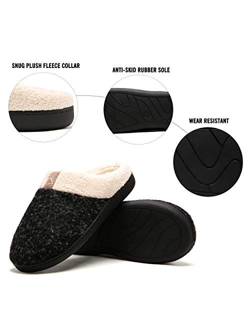 Womens Memory Foam House Slippers Plush Fleece Indoor Outdoor Slippers