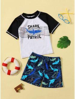 Boys Shark Print Two Piece Swimsuit