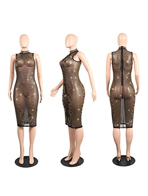 OLUOLIN Women's Sexy Sequins Sheer Mesh See Through Rhinestone Sleeveless Printed Bodycon Pencil Dress Midi Party Night