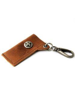 Leather Lighter Holder Key Chain W/ Cross (BROWN)