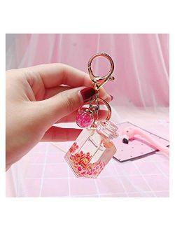 Fangzwl Keychain Pendant Creative Popsicle Glitter Key Chain Quicksand Keychain Fruit Keyring Backpack Pendant Gift for Women (Color : B)