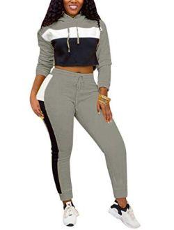 Women Causal Long Sleeve Color Block Sweatshirt Crop Top Bodycon Drawstring Sweatpants Tracksuit 2 Piece Outfit Set